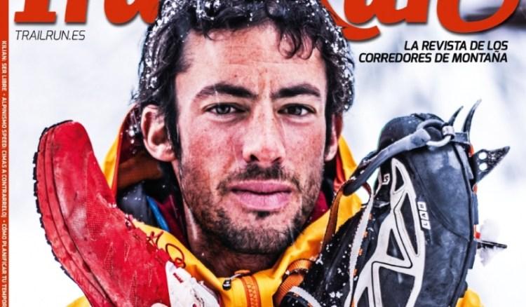 Kilian w hiszpańskim czasopiśmie o trailu prezentuje swój oręż do walki z górami. Fot. Trailrun.es