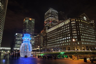 December 2006 Snowman, West India Quay, Canary Wharf, London, UK