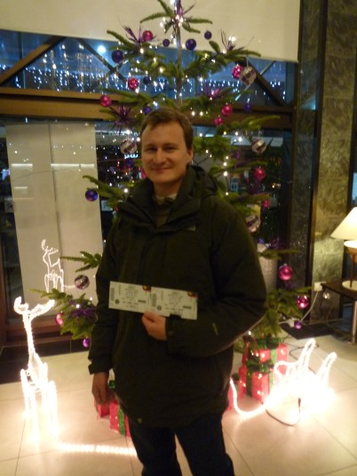 Picking up our tickets from our first Dublin home, The Ballsbridge Hotel!
