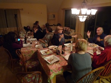 Christmas dinner at B's house with 20 guests.