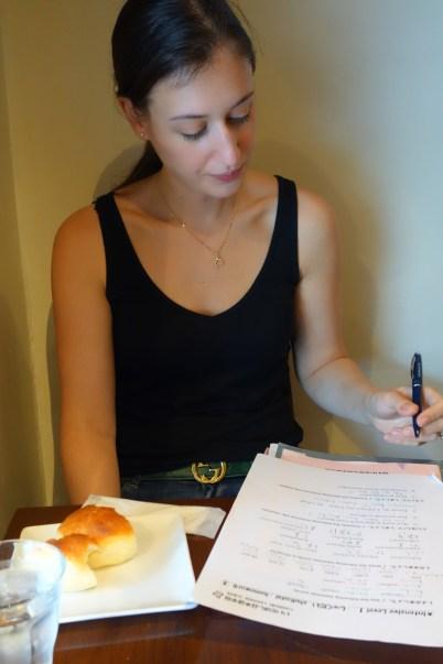 Doing my homework before class!