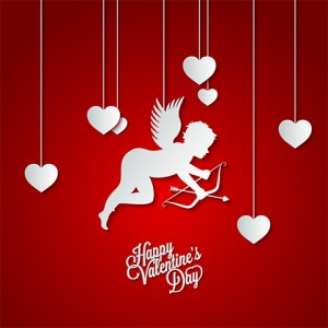 Happy Valentine's Day cupis and white cut out hearts on red background