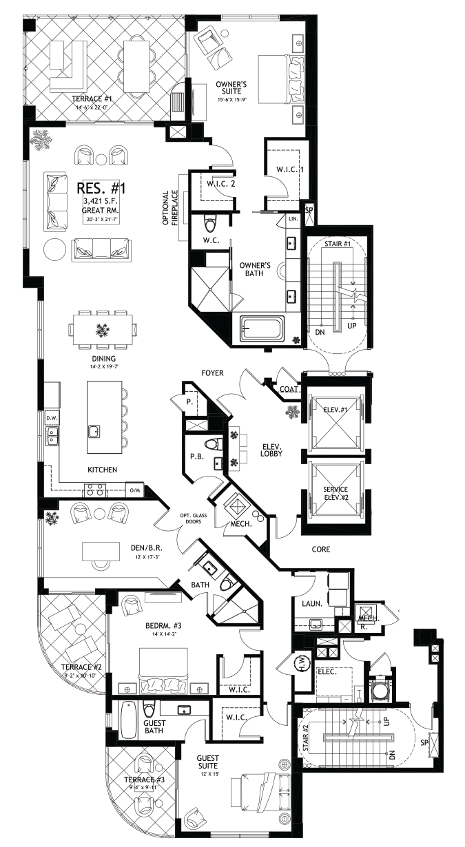 Seaglass floor plan Residence 1 and 6 - Ronto Group, Bonita Springs, Florida
