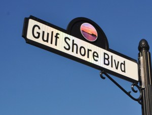 Gulf Shore Blvd street sign against clear blue sky