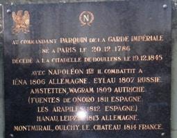 Plaque funéraire de Parquin à Doullens