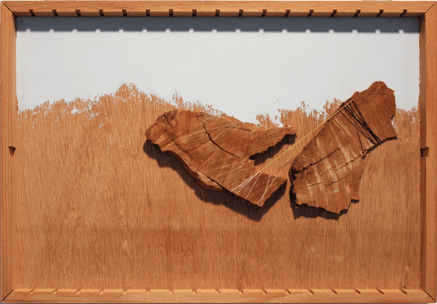 """Heather Riley, Stay, 14.5"""" x 11"""" x 1.25"""", Wood, oil, thread, 2013"""
