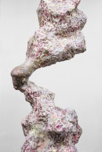 "Russets and Saffron Thread on Pine (Detail), 24"" x 68"" x 18"", 2013"