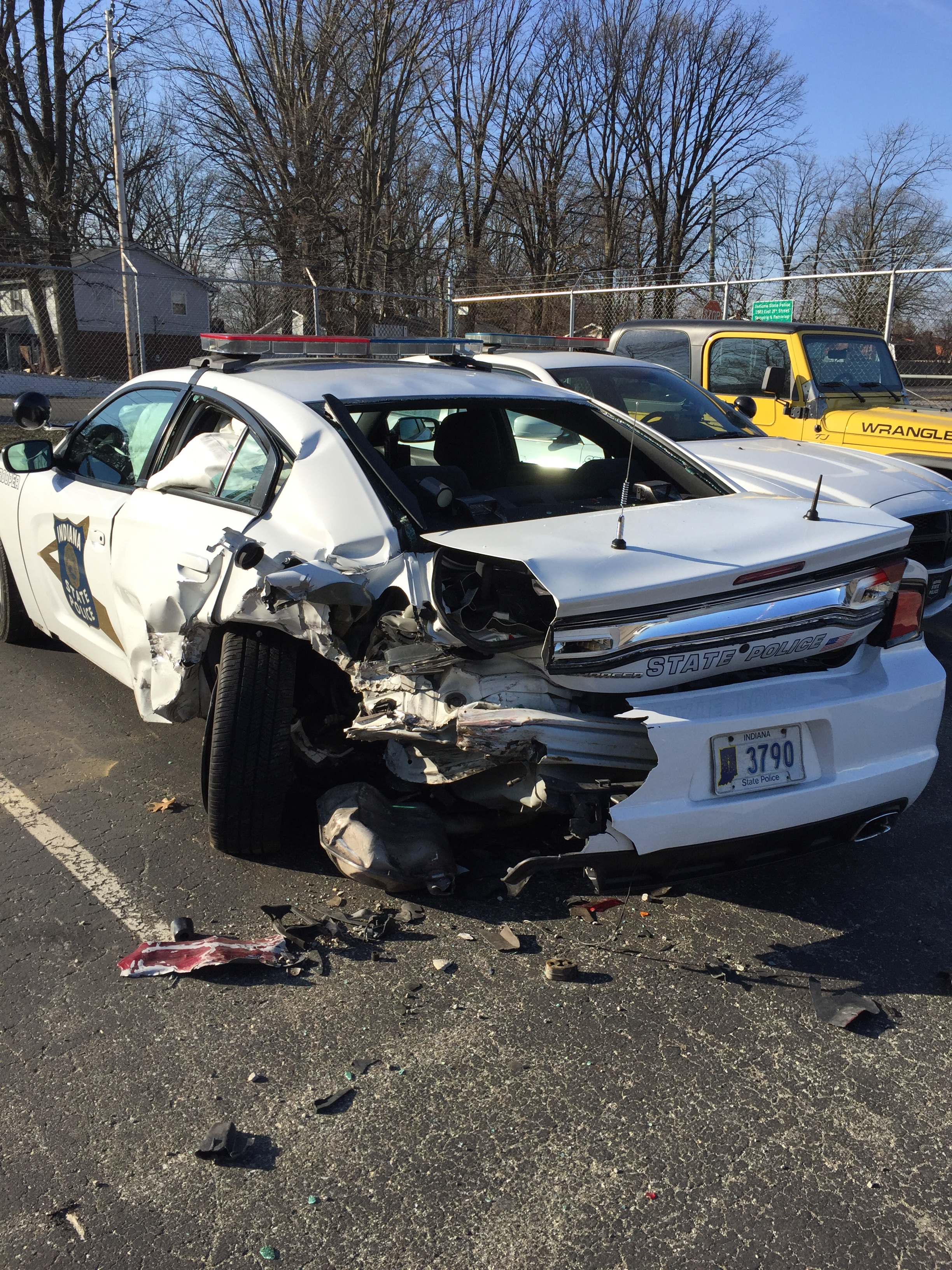 Indiana State Police Car Struck On I 65 Indianapolis