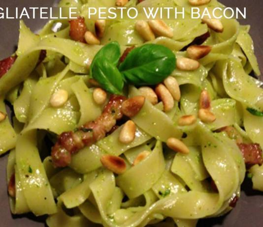 Tagliatelle Pesto with Bacon
