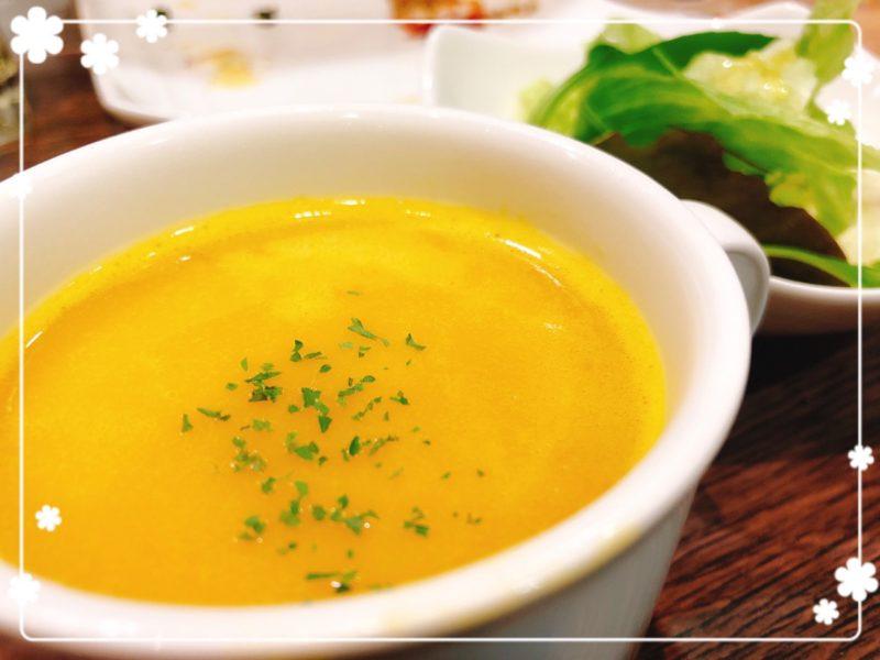 もりわきハンバーグ スープとサラダ