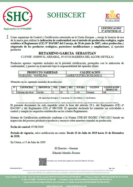 certificado de naranja ecológica