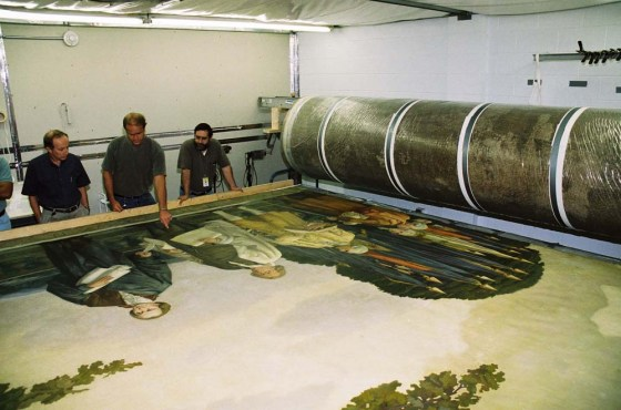 Rick Blondo, on the right, looking at a Rotunda mural removed to a conservation facility.  In the center is David Olin, the lead conservator of the murals, and to the left is Marvin Shenkler, another member of the renovation management team.