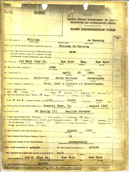 Willem de Kooning Alien Registration Form.