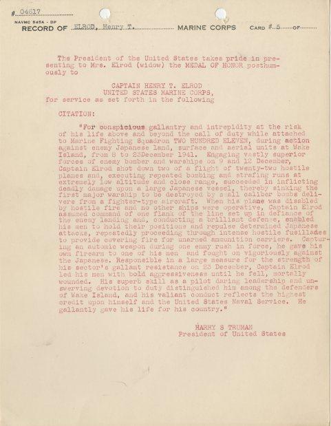 Medal of Honor Citation from President Harry S. Truman