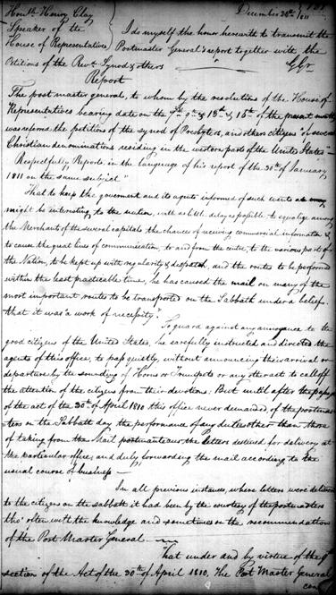1811 letter from the Postmaster General to Henry Clay, House of Representatives