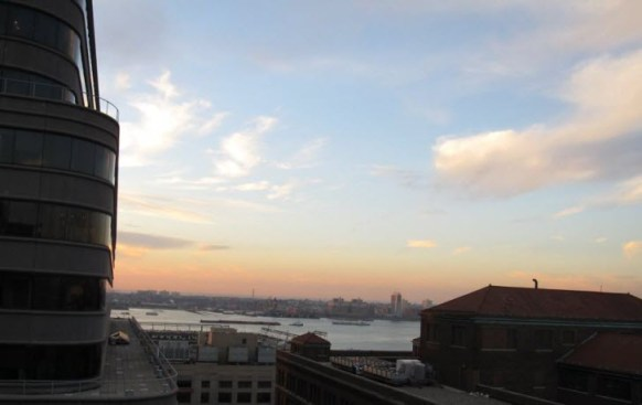View of the Hudson River from the National Archives at New York City right before sunset.