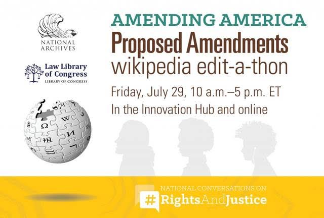 Promotional banner for Amending America edit-a-thon, showing National Archives, Wikipedia, and exhibit logos.
