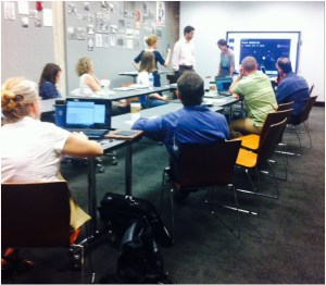 Having fun walking through potential app scenarios at the Kansas City teacher workshop. Photo credit: Kimberlee Reid