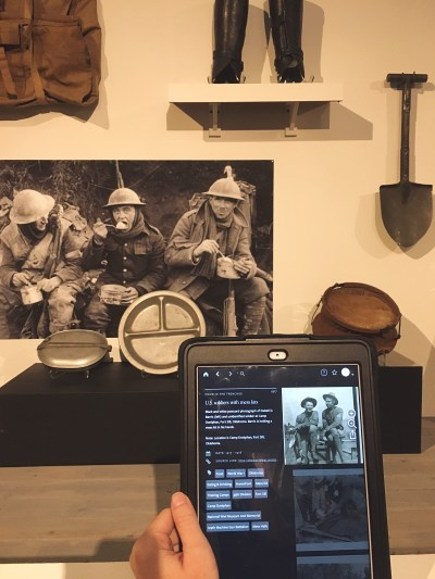 Columbia Museum using WWI app with artifacts