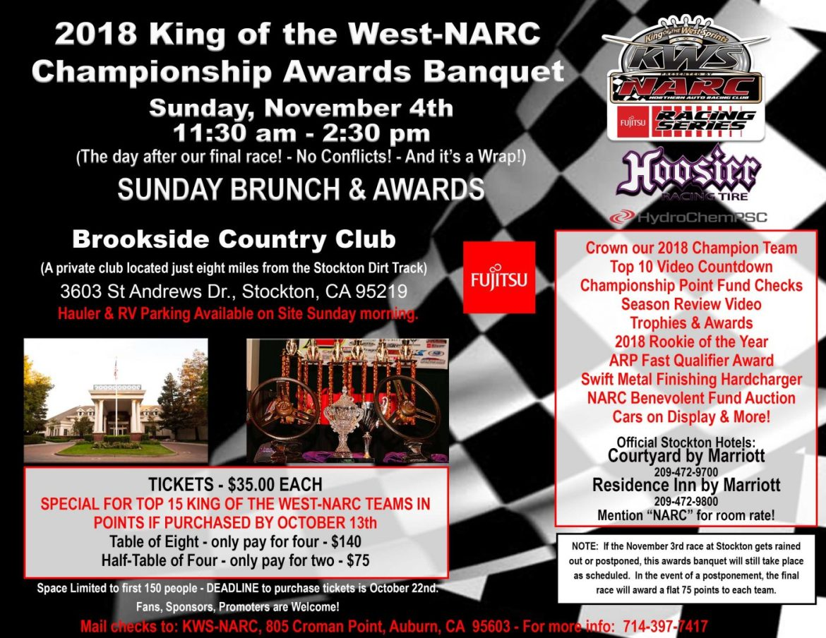 championship banquet scheduled for nov 4th king of the west narc