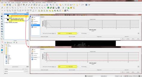 Comparando os histogramas da declividade em graus e porcentagens no QGIS