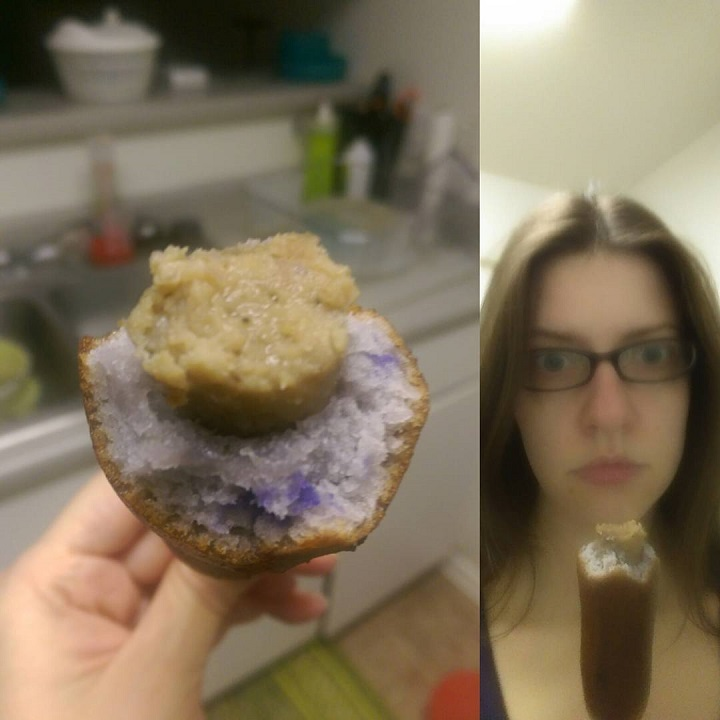 a photo closeup of a jimmy dean blueberry pancake sausage on a stick and laurel green eating one
