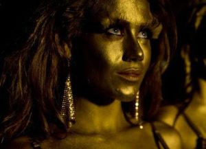 girl painted in gold—golden child