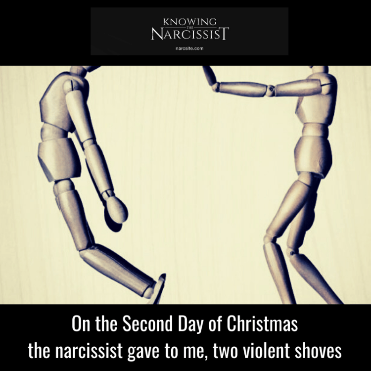 On the Second Day of Christmas the narcissist gave to me, two violent shoves