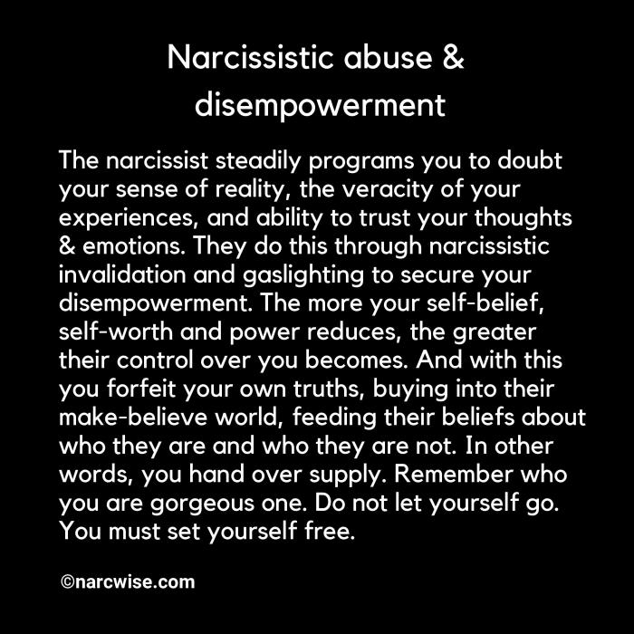 Narcissistic abuse & disempowerment