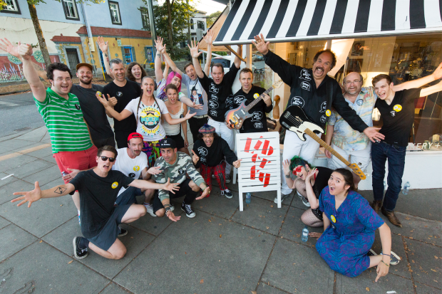 """Nardwuar and The Evaporators and the cast and crew of the """"Eat to Win"""" video ! Liberty Bakery, Vancouver BC Canada! (Pic by William Jans)"""