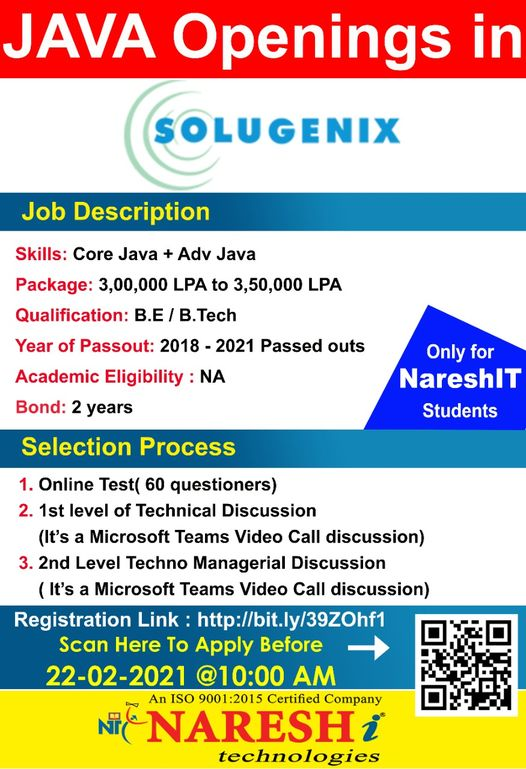 """""""SOLUGENIX"""" Openings for Java - Only For NareshIT Students."""