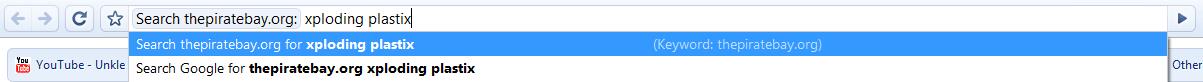 Google Chrome: enter search keywords and hit enter