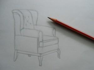 برای نشان دادن این موضوع داخلی، ابتدا باید طرح ها را تعیین کنید و ابعاد مشترک را تعیین کنید. سپس طراحی پشتی و صندلی کشیده شده است. Armrests با این صندلی یک کل را تشکیل می دهند (در مدل های دیگر ممکن است وجود نداشته باشند یا آنها بتوانند به طور جداگانه متصل شوند). تکمیل ساخت و ساز، شما باید پایه و چرخ ها را مشخص کنید. طرح به پایان رسید توسط قطعات، سایه ها، حجم، در صورت لزوم، با مداد رنگی، گواش یا آبرنگ رنگ شده است.