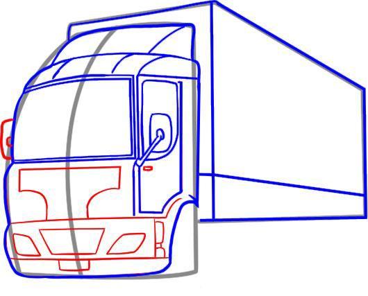 Pasul 1 Pentru a desena un camion, vom avea nevoie de un conducător, radieră și creion. Este recomandabil să alegeți un creion HB, deoarece este cel mai potrivit pentru schițele simple. Trageți liniile de ghidare așa cum este indicat în figură.