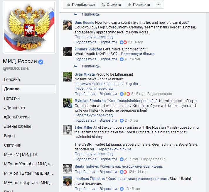 Литовці провели на сторінці МЗС РФ патріотичний флешмоб