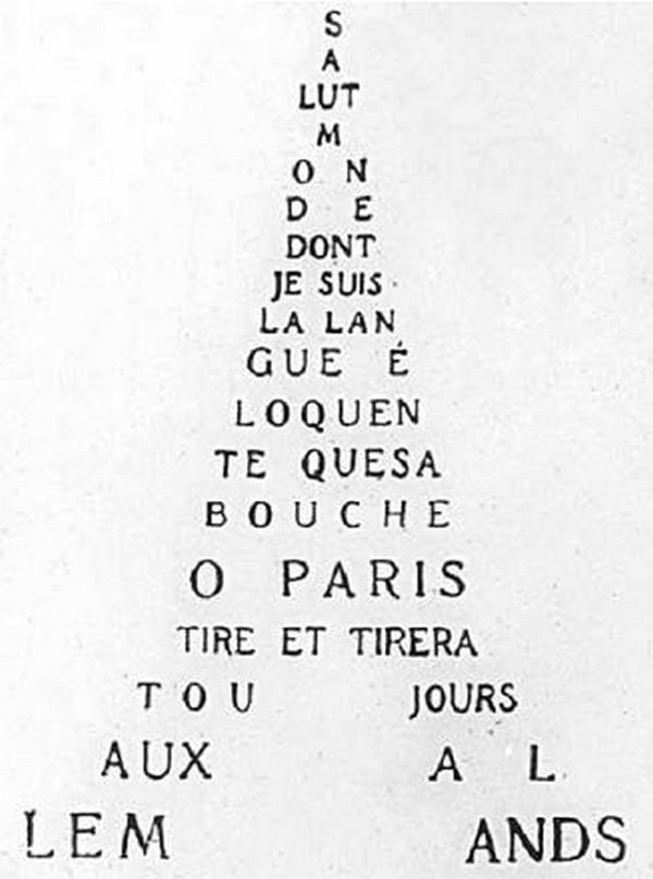 Dans cet exemple, Apollinaire c'est servi des strophes pour former une Tour Eiffel