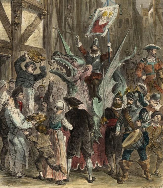 Une image représentant une procession célébrant la mort du Graoully à Metz.