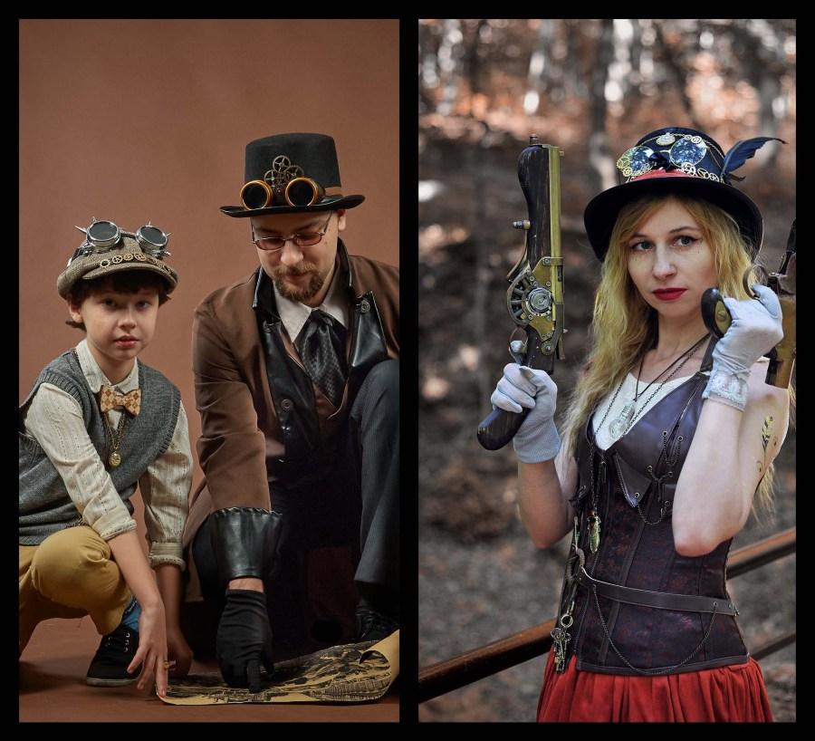 Différents looks steampunks homme, femme, enfant