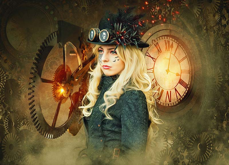 Une jeune femme en costume typique Steampunk avec des engrenages et de la vapeur