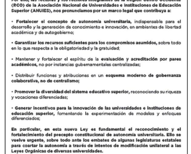 POR UNA NUEVA LEY GENERAL DE EDUCACIÓN SUPERIOR