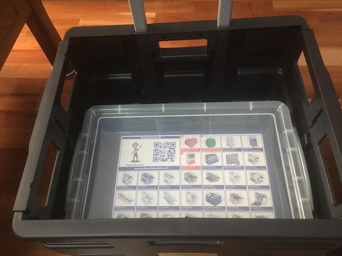 Ryman's 4 litre storage box a perfect fit in the Aldi Workzone folding box truck