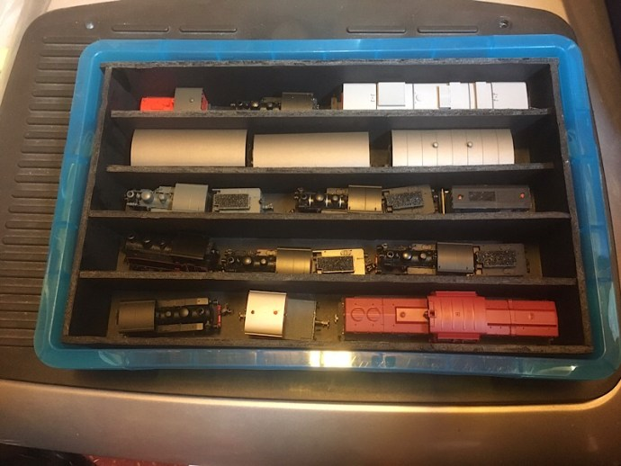 Using foam core board to make stock partitions in a Ryman 4 litre box with lid