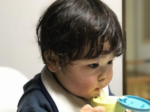 ストローマグで飲む子供