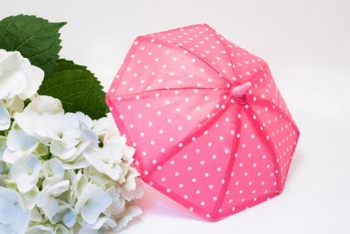 ドット柄のピンクの傘