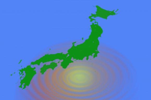 日本地図と台風