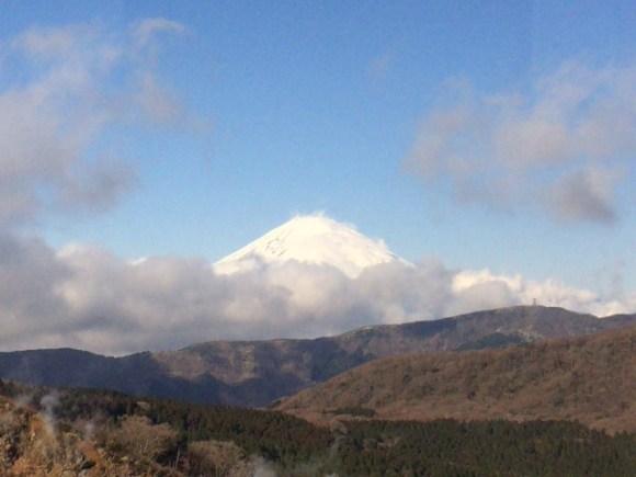 富士山がロープウェイから見える