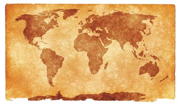 体全体に世界地図が描かれた
