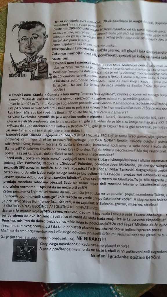 ZABRINUTI GRAĐANI OPŠTINE BEOČIN: Neko im postavlja letke u poštanska sandučeta u kojem se vređa Dušan Bajatović i sugeriše kome da ne daju glas (FOTO) 2