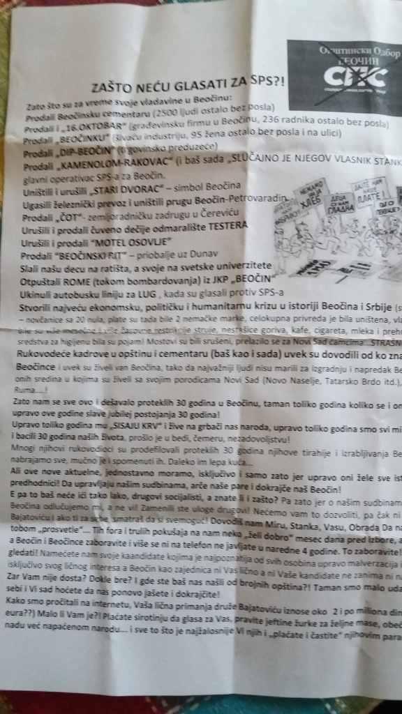 ZABRINUTI GRAĐANI OPŠTINE BEOČIN: Neko im postavlja letke u poštanska sandučeta u kojem se vređa Dušan Bajatović i sugeriše kome da ne daju glas (FOTO) 1