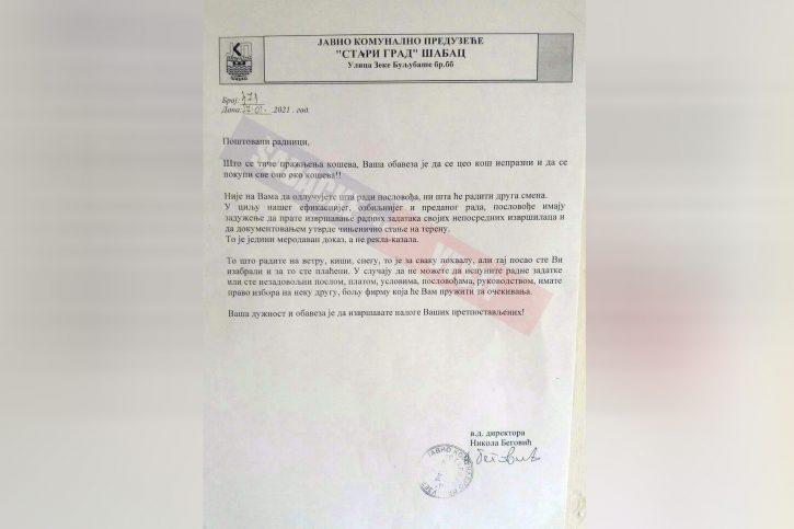 ĆUTIŠ, SRBIJO: Direktor komunalnog u Šapcu bezobzirno ponižava radnike 1